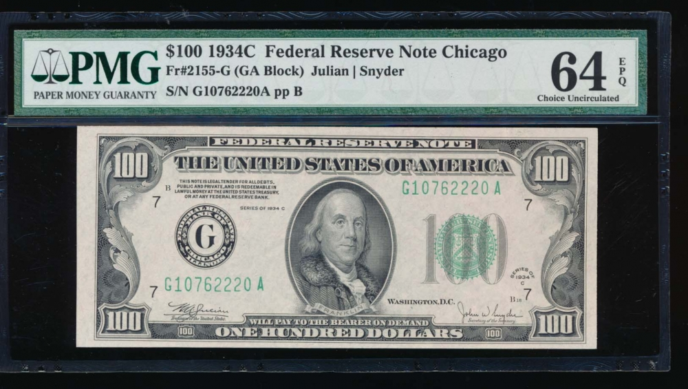 Fr. 2155-G 1934C $100  Federal Reserve Note Chicago PMG 64EPQ G10762220A