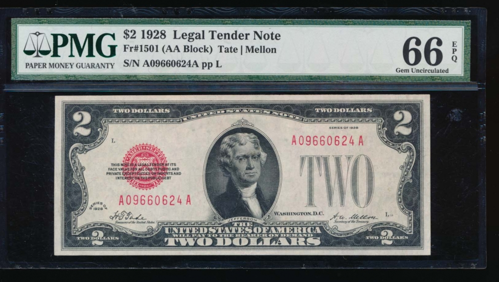 Fr. 1501 1928 $2  Legal Tender AA block PMG 66EPQ A09660624A