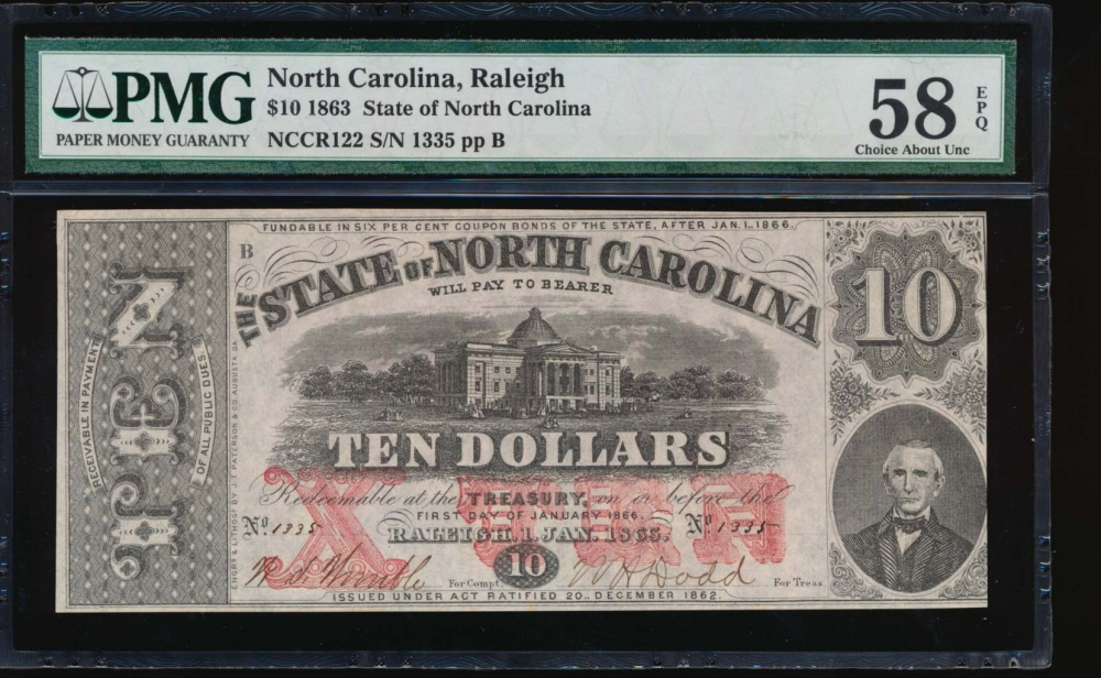 Fr. Cr NC-122 1863 $10  Obsolete State of North Carolina, Raleigh PMG 58EPQ 1335
