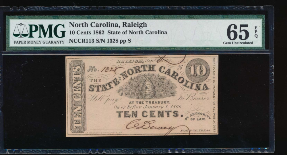 Fr. Cr NC-113 1862 $0.10  Obsolete State of North Carolina, Raleigh PMG 65EPQ 1328