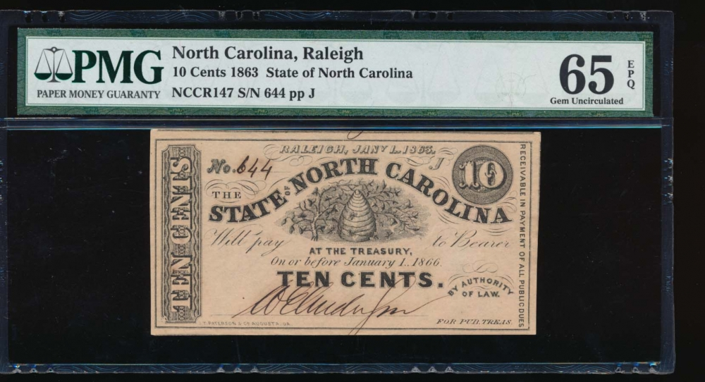 Fr. Cr NC-147 1863 $0.10  Obsolete State of North Carolina, Raleigh PMG 65EPQ 644