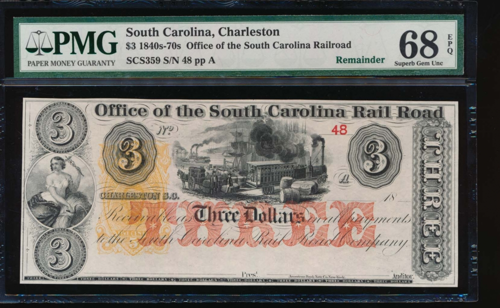 Fr. SCS359 1800s $3 Obsolete Office of the South Carolina Rail Road, Charleston, SC PMG 68EPQ 36B