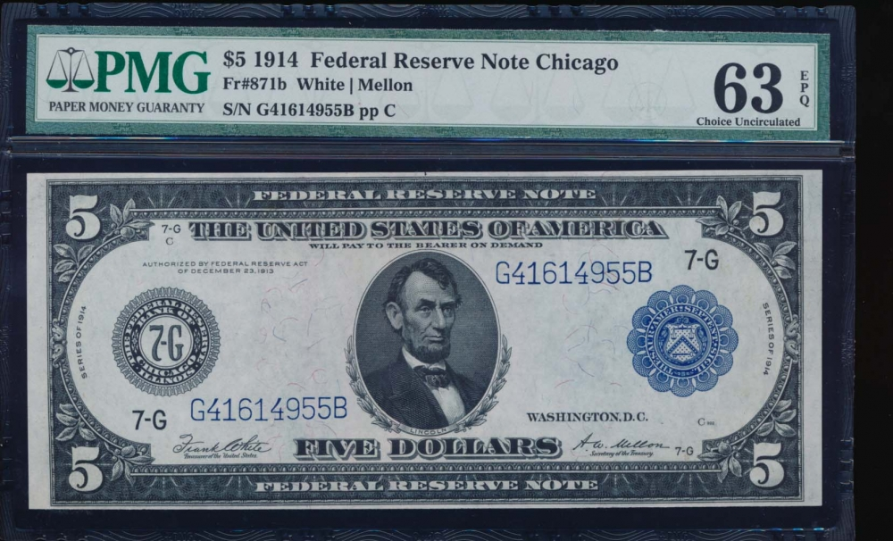 Fr. 871a 1914 $5  Federal Reserve Note Chicago PMG 63EPQ G416914955B
