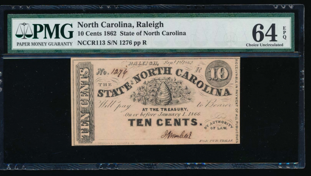 Fr. Cr NC-113 1862 $0.10  Obsolete State of North Carolina, Raleigh PMG 64EPQ 1276R