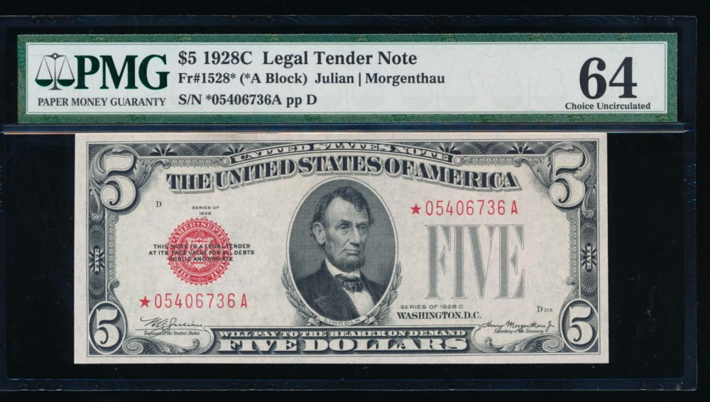 Fr. 1528 1928C $5  Legal Tender *A block PMG 64 *05406736A