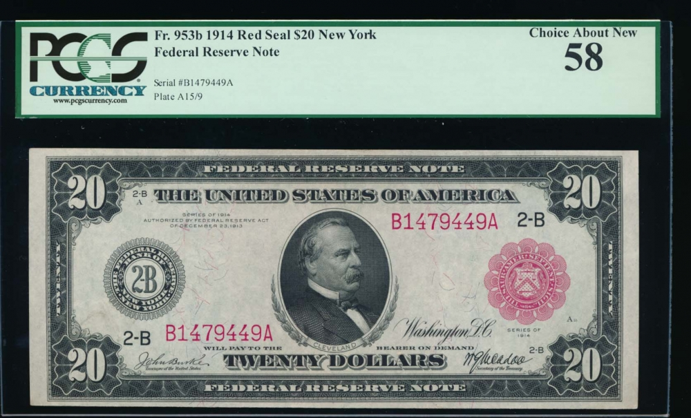 Fr. 953b 1914 $20  Federal Reserve Note New York red seal PCGS 58 B1479449A