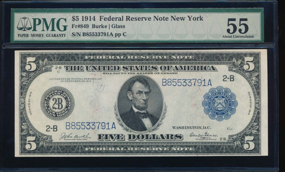 Fr. 849 1914 $5  Federal Reserve Note New York PMG 55 B85533791A