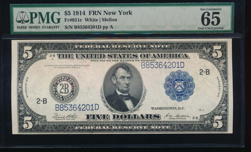 Fr. 851c 1914 $5  Federal Reserve Note New York PMG 65EPQ B85364201D