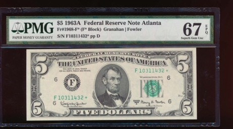 Fr. 1968-F 1963A $5  Federal Reserve Note Atlanta star PMG 67EPQ F10311432*