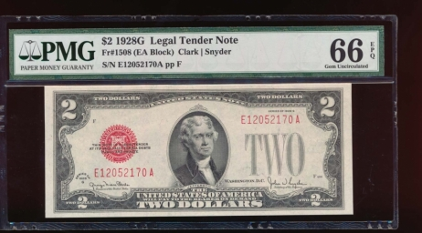 Fr. 1508 1928G $2  Legal Tender EA block PMG 66EPQ E12052170A
