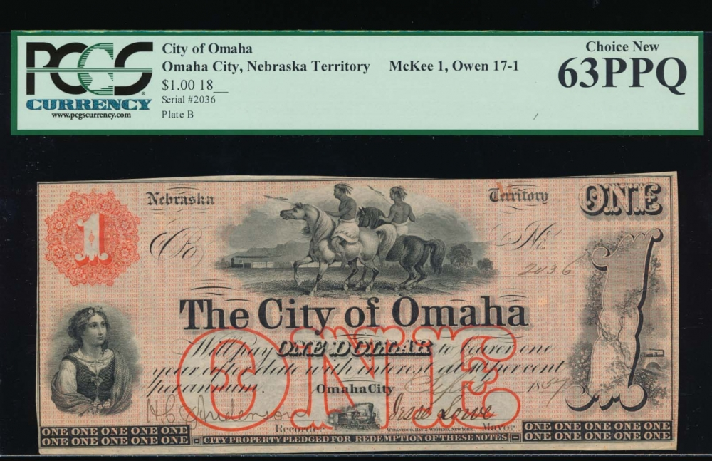 Fr. NEC 121 1857 $1  Scrip The City of Omaha, Nebraska Territory PCGS 63PPQ 2036B
