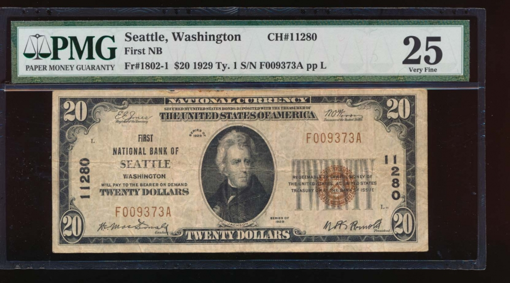 Fr. 1802-1 1929 $20  National: Type I Ch #11280 First National Bank of Seattle, Washington PMG 25 comment F009373A