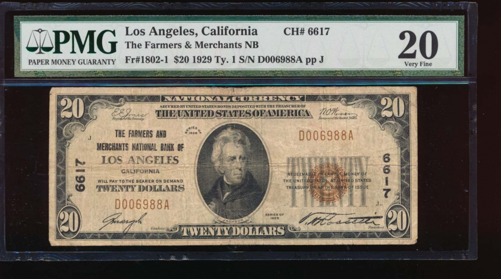 Fr. 1802-1 1929 $20  National: Type I Ch #6617 The Farmers and Merchants National Bank of Los Angeles, California PMG 20 D006988A
