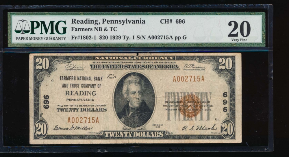 Fr. 1802-1 1929 $20  National: Type I Ch #696 Farmers National Bank and Trust Company of Reading, Pennsylvania PMG 20 comment A002715A