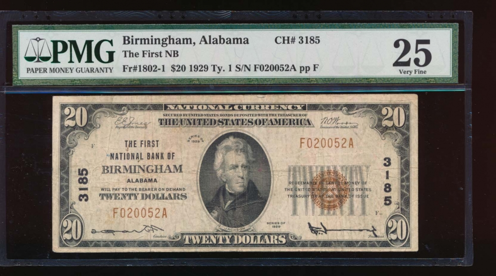 Fr. 1802-1 1929 $20  National: Type I Ch #3185 The First National Bank of Birmingham, Alabama PMG 25 comment F020052A obverse
