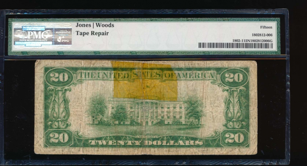 Fr. 1802-1 1929 $20  National: Type I Ch #1327 The First Mechanics National Bank of Trenton, New Jersey PMG 15NET A009179A reverse