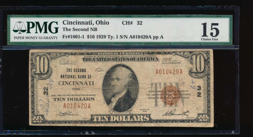 Fr. 1801-1 1929 $10  National: Type I Ch #32 The Second National Bank of Cincinnati, Ohio PMG 15 comment A010420A