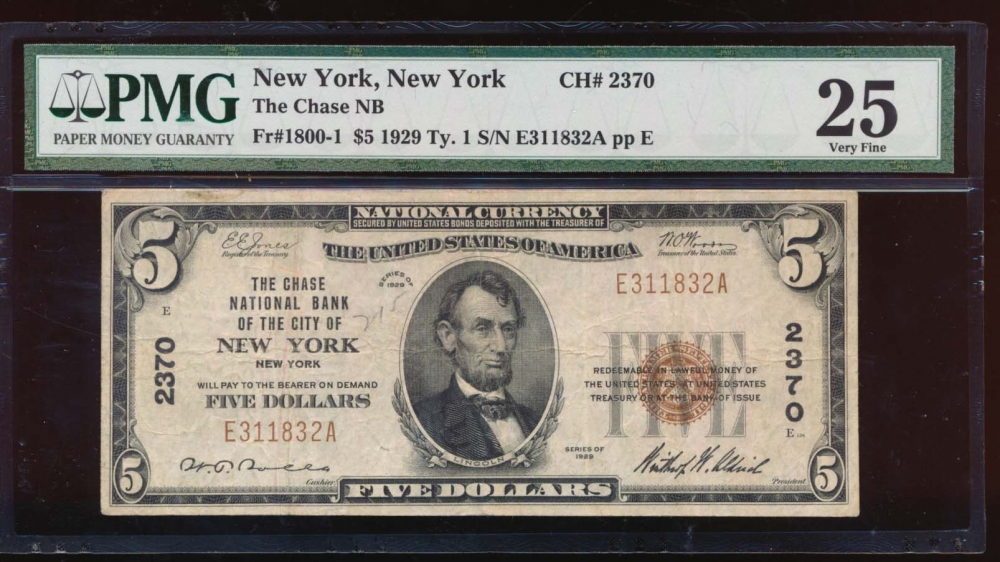 Fr. 1800-1 1929 $5  National: Type I Ch #2370 The Chase National Bank of the City of New York, New York PMG 25 comment E311832A