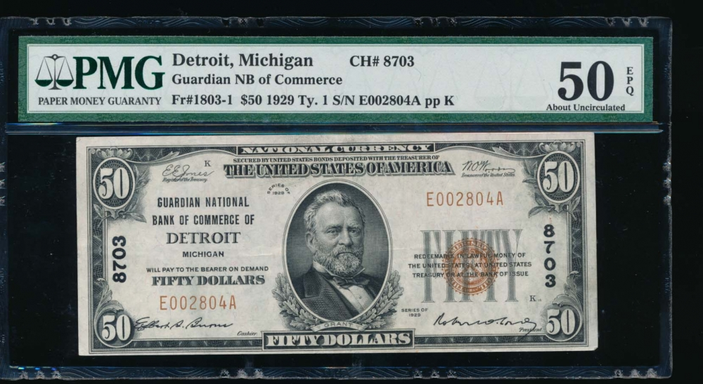 Fr. 1803-1 1929 $50  National: Type I Ch #8703 Guardian National Bank of Commerce of Detriot, Michigan PMG 50EPQ E002804A