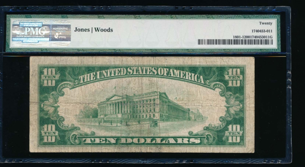 Fr. 1801-1 1929 $10  National: Type I Ch #64 First Wisconsin National Bank of Milwaukee, Wisconsin PMG 20 D039144A reverse