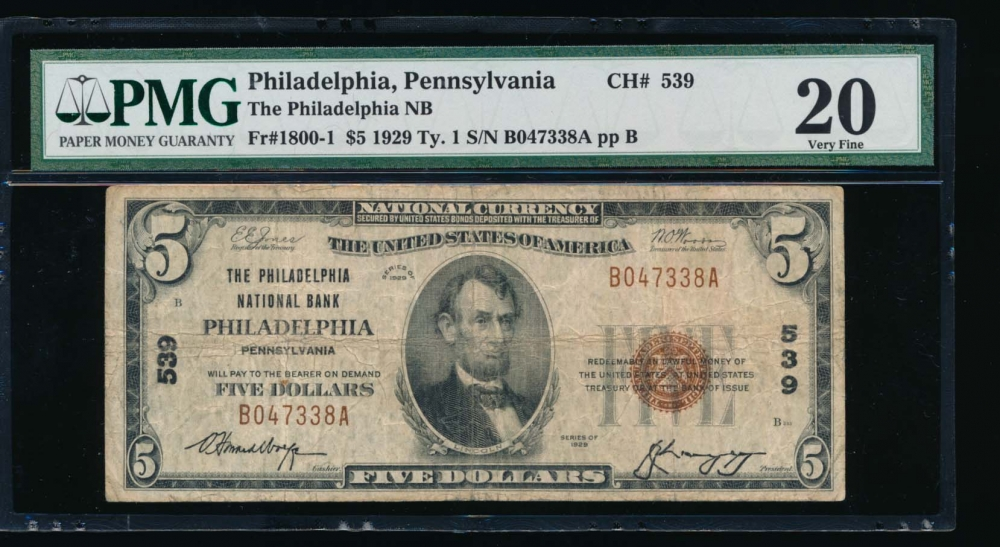 Fr. 1800-1 1929 $5  National: Type I Ch #539 The Philadelphia National Bank of Philadelphia, Pennsylvania PMG 20 B047338A