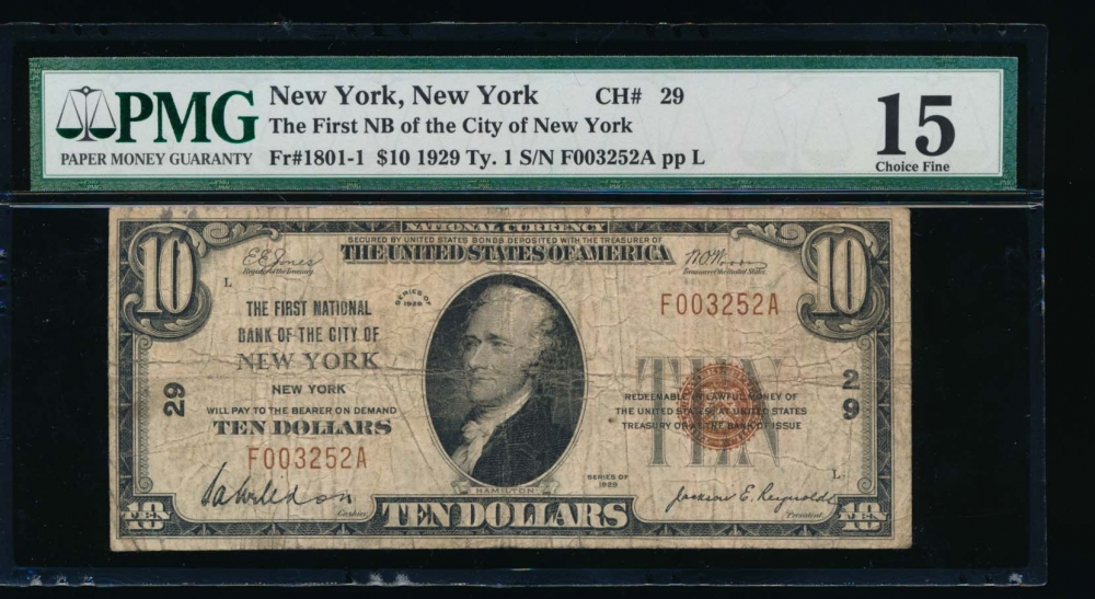 Fr. 1801-1 1929 $10  National: Type I Ch #29 The First National Bank of the City of New York, New York PMG 15 F003252A