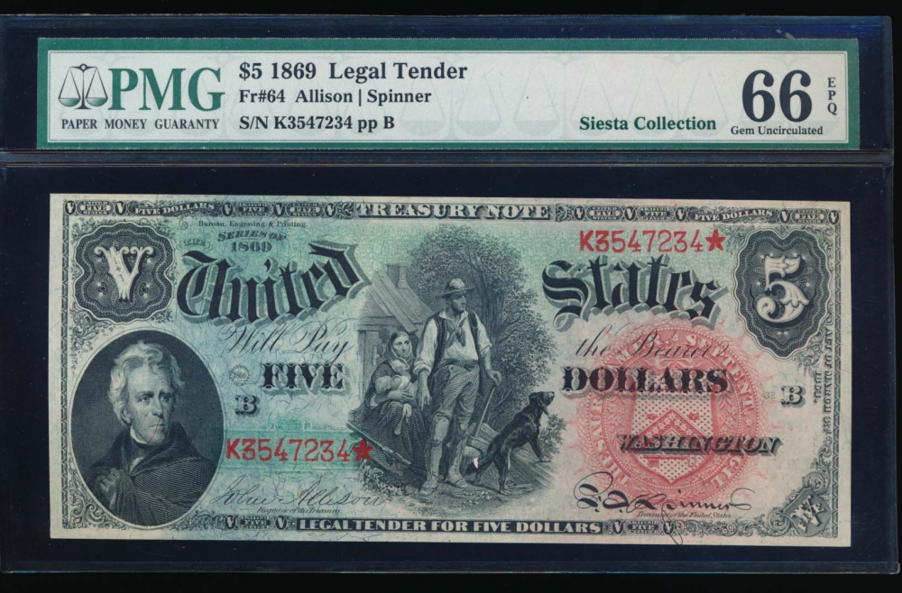 Fr. 64 1869 $5  Legal Tender  PMG 66EPQ K3547234* obverse