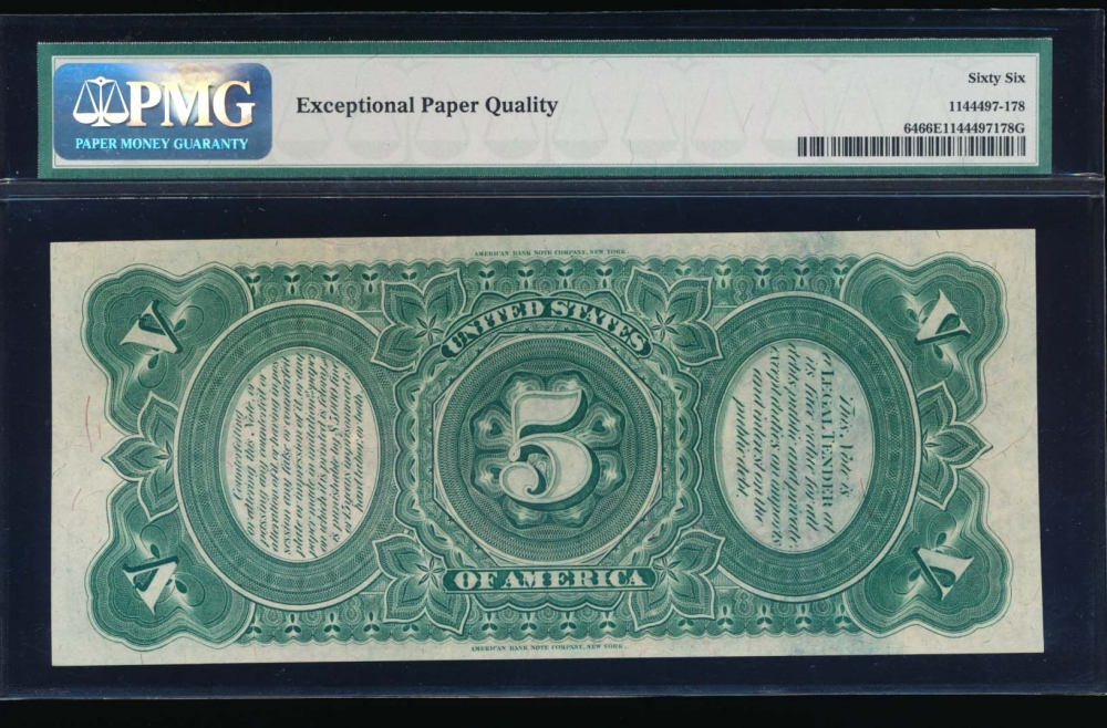 Fr. 64 1869 $5  Legal Tender  PMG 66EPQ K3547234* reverse