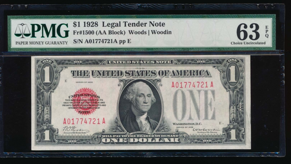 Fr. 1500 1928 $1  Legal Tender  PMG 63EPQ A01774721A