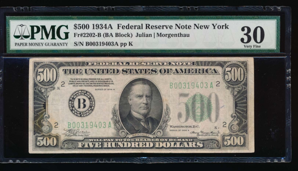 Fr. 2202-B 1934A $500  Federal Reserve Note New York PMG 30 comment B00319403A