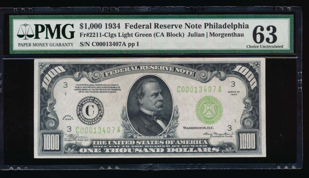 Fr. 2211-C 1934 $1,000  Federal Reserve Note Philadelphia LGS PMG 63 comment C00013407A