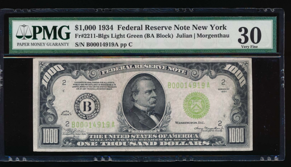 Fr. 2211-B 1934 $1,000  Federal Reserve Note New York LGS PMG 30 comment B00014919A