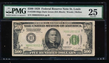 Fr. 2200-H 1928 $500  Federal Reserve Note Saint Louis PMG 25 comment H00038552A