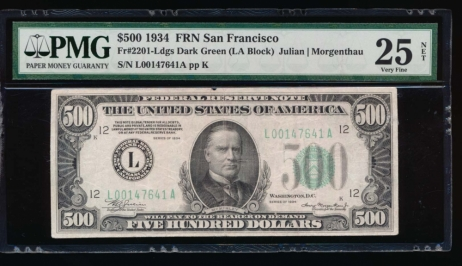 Fr. 2201-L 1934 $500  Federal Reserve Note San Francisco PMG 25NET L00147641A