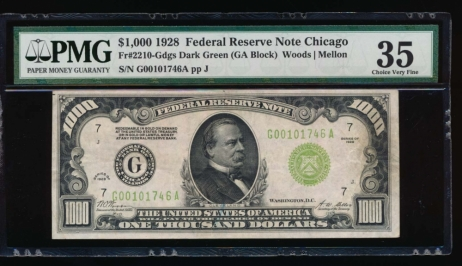 Fr. 2210-G 1928 $1,000  Federal Reserve Note Chicago PMG 35 comment G00101746A