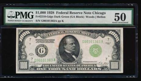 Fr. 2210-G 1928 $1,000  Federal Reserve Note Chicago PMG 50 comment G00101363A