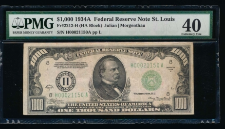 Fr. 2212-H 1934A $1,000  Federal Reserve Note Saint Louis PMG 40 comment H00021150A
