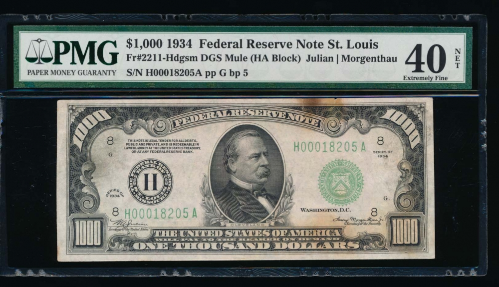 Fr. 2211-H 1934 $1,000  Federal Reserve Note Saint Louis PMG 40NET H00018205A