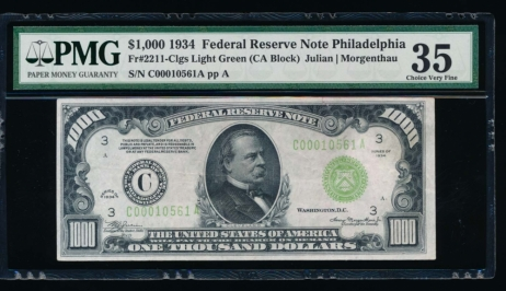 Fr. 2211-C 1934 $1,000  Federal Reserve Note Philadelphia LGS PMG 35 comment C00010561A