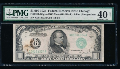 Fr. 2211-G 1934 $1,000  Federal Reserve Note Chicago PMG 40NET G00134324A