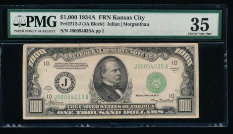 Fr. 2212-J 1934A $1,000  Federal Reserve Note Kansas City PMG 35 comment J00054039A