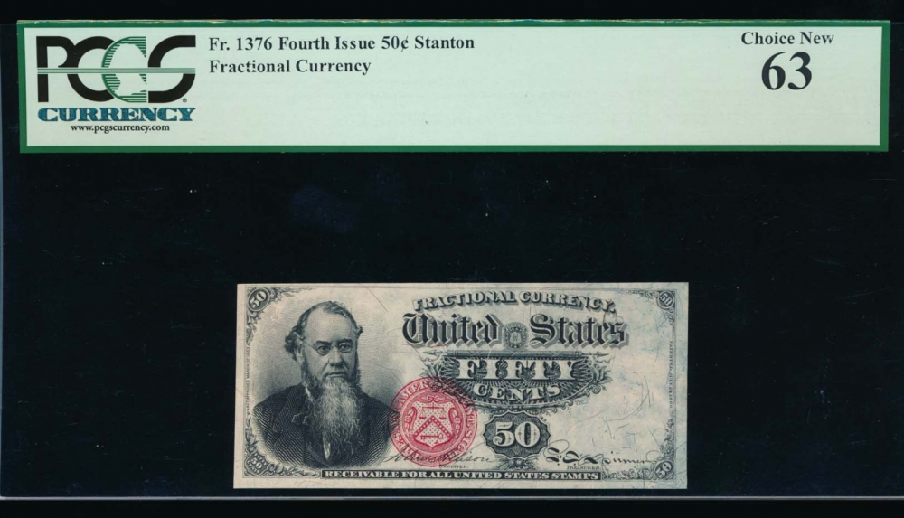 Fr. 1376 1869 $0.50  Fractional Fourth Issue: Blue Right End PCGS 63 no serial number