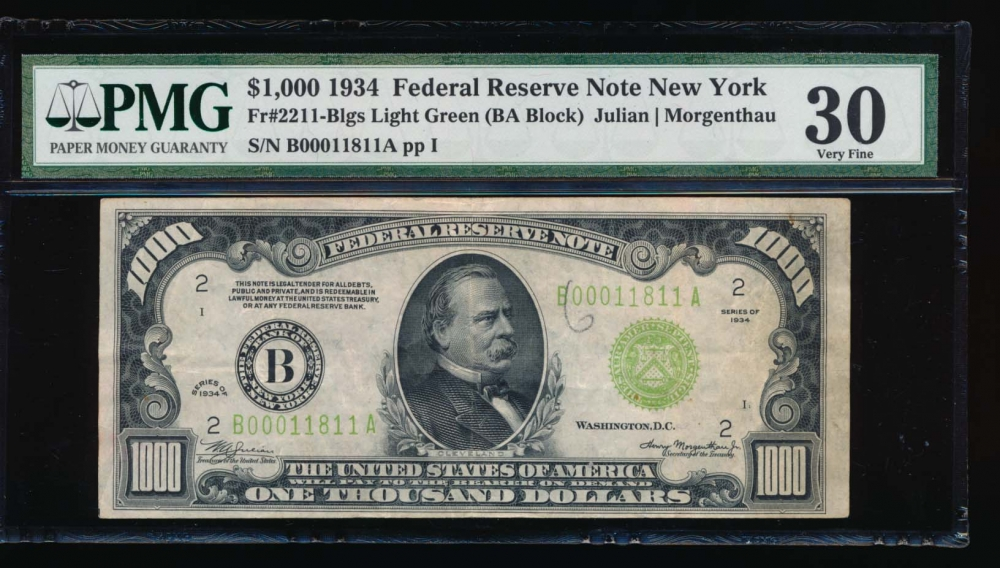 Fr. 2211-B 1934 $1,000  Federal Reserve Note New York LGS radar PMG 30 comment B00011811A