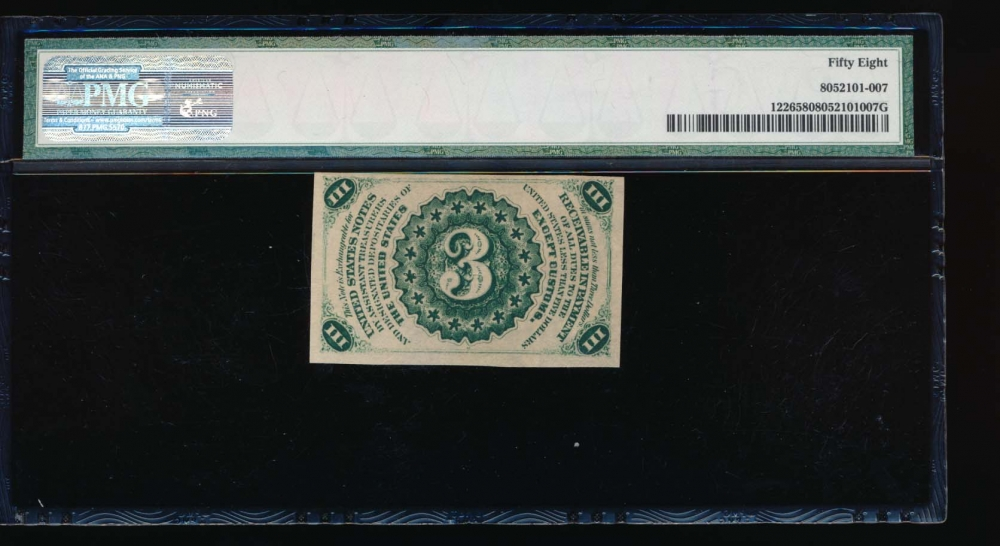 Fr. 1226  $0.03  Fractional Third Issue: Light Background PMG 58 no serial number reverse