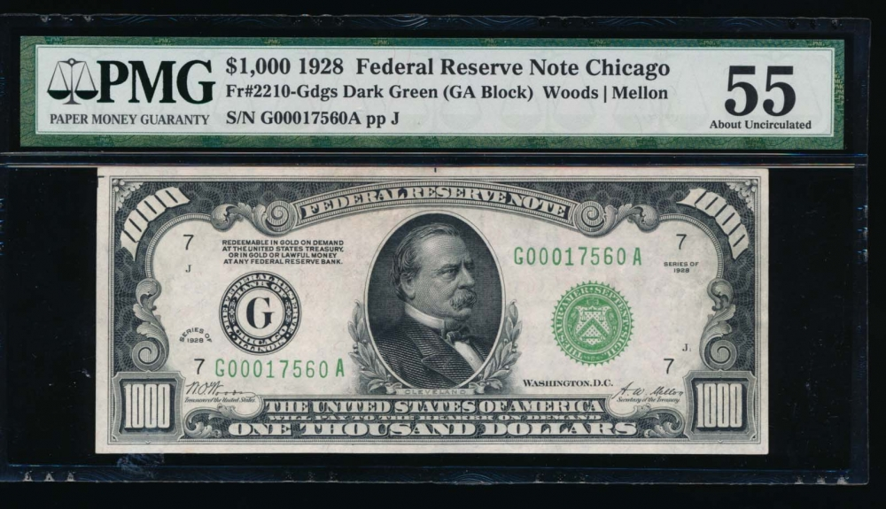 Fr. 2210-G 1928 $1,000  Federal Reserve Note Chicago PMG 55 G00017560A