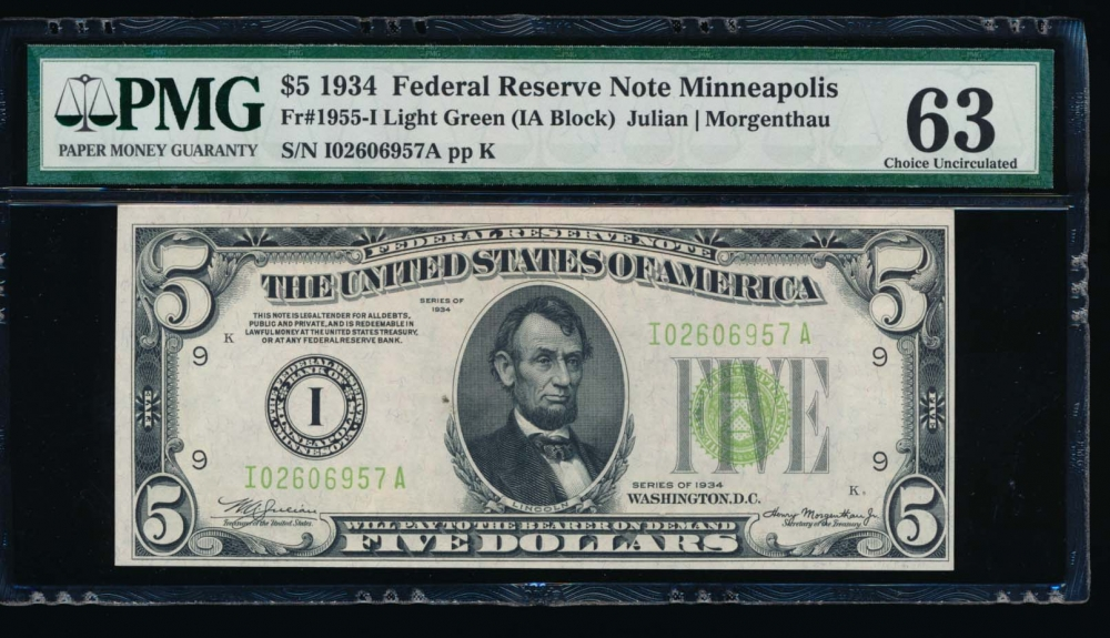 Fr. 1955-I 1934 $5  Federal Reserve Note Minneapolis LGS PMG 63 I02606957A