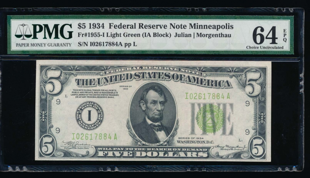 Fr. 1955-I 1934 $5  Federal Reserve Note Minneapolis LGS PMG 64EPQ I02617884A