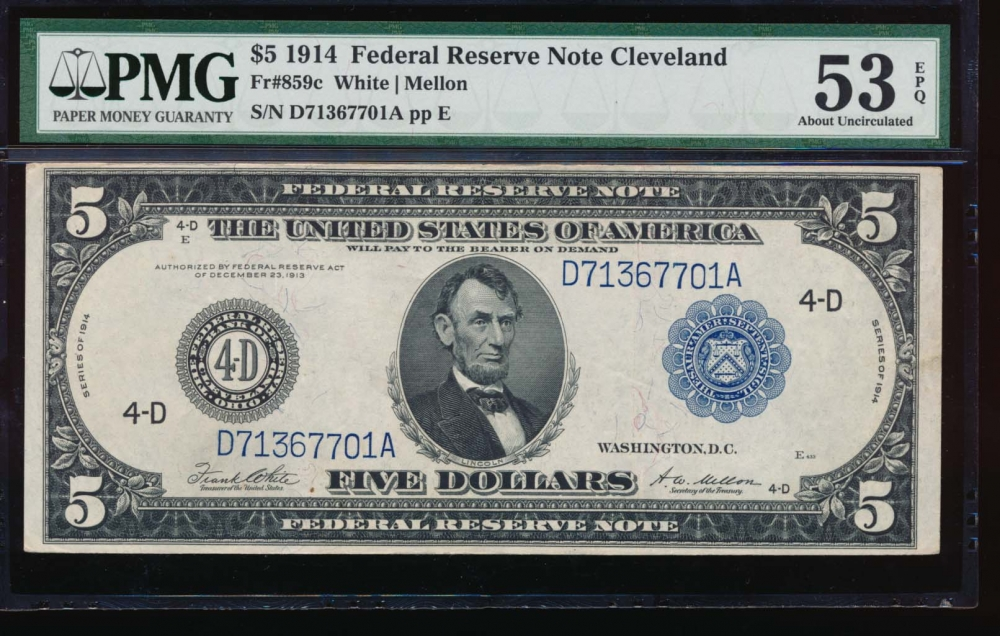Fr. 859c 1914 $5  Federal Reserve Note Cleveland PMG 53EPQ D71367701A