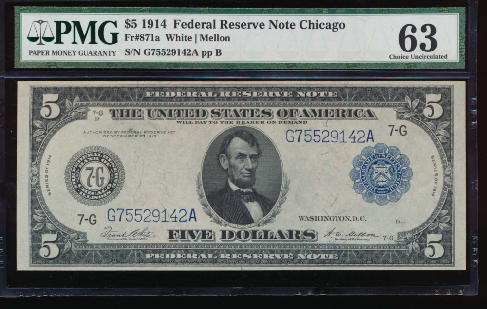 Fr. 871a 1914 $5  Federal Reserve Note Chicago PMG 63 G75529142A obverse