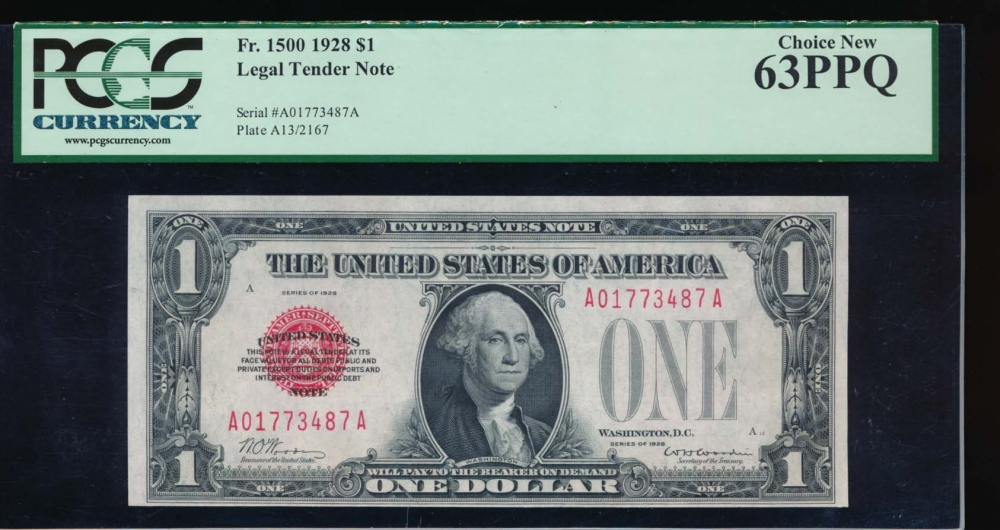 Fr. 1500 1928 $1  Legal Tender  PCGS 63PPQ A01773487A